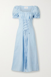 Sleeper Marquise lace-up linen midi dress