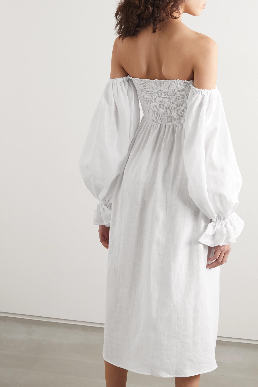 Sleeper Atlanta 露肩平行绉缝亚麻中长连衣裙