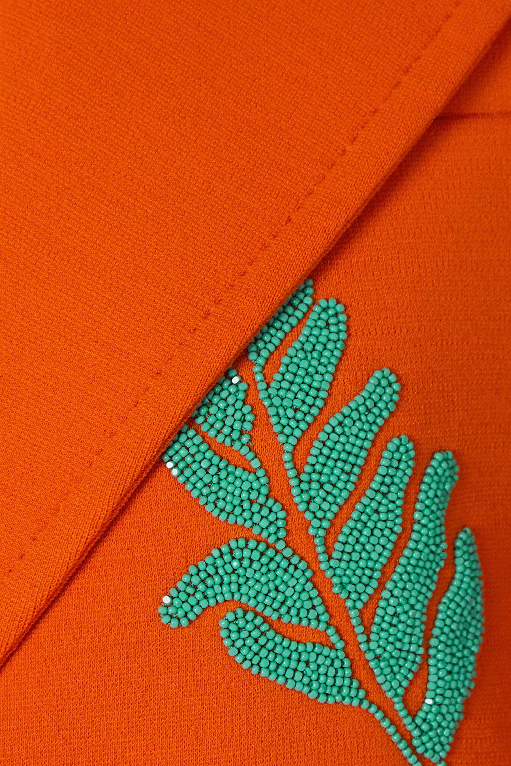 Orange Bead-embellished Wool Coat | Prada