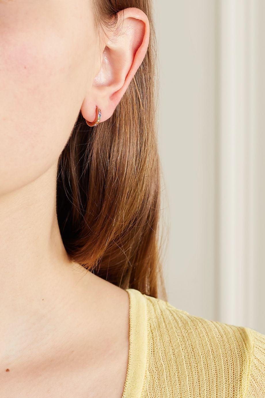 Monica Vinader Skinny Huggie rose gold vermeil multi-stone earrings