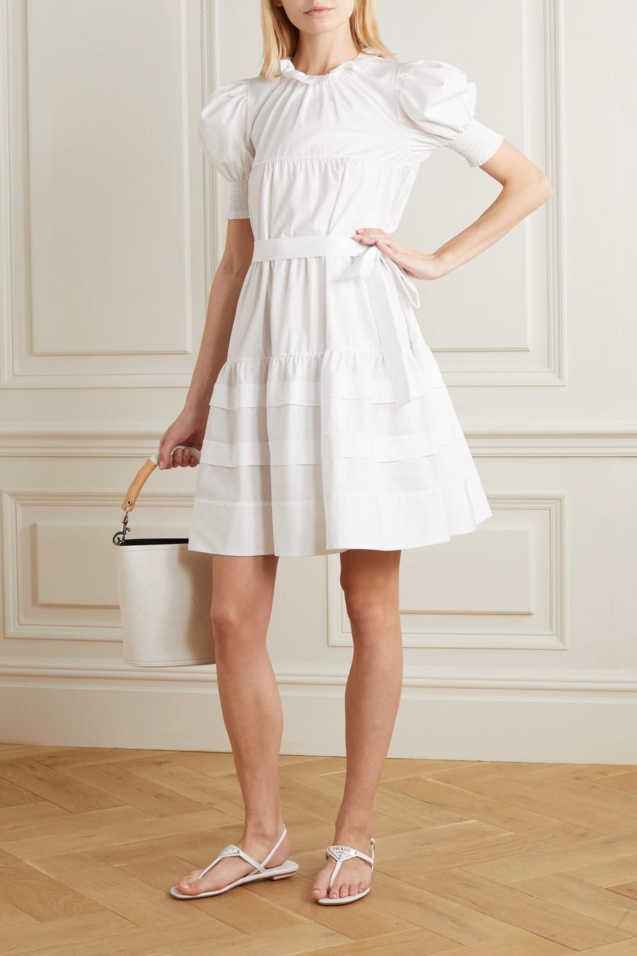 Prada Belted ruffled tiered cotton-poplin dress