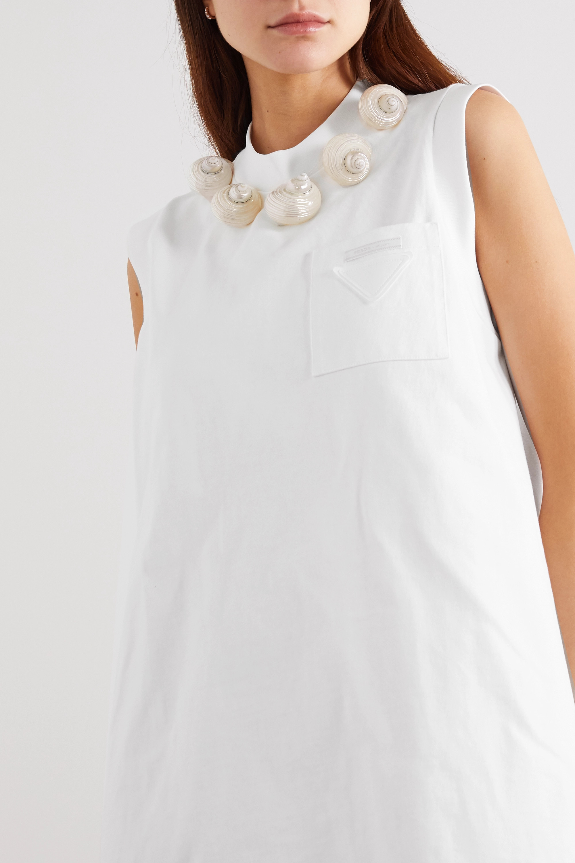 Prada Shell-embellished cotton-jersey mini dress