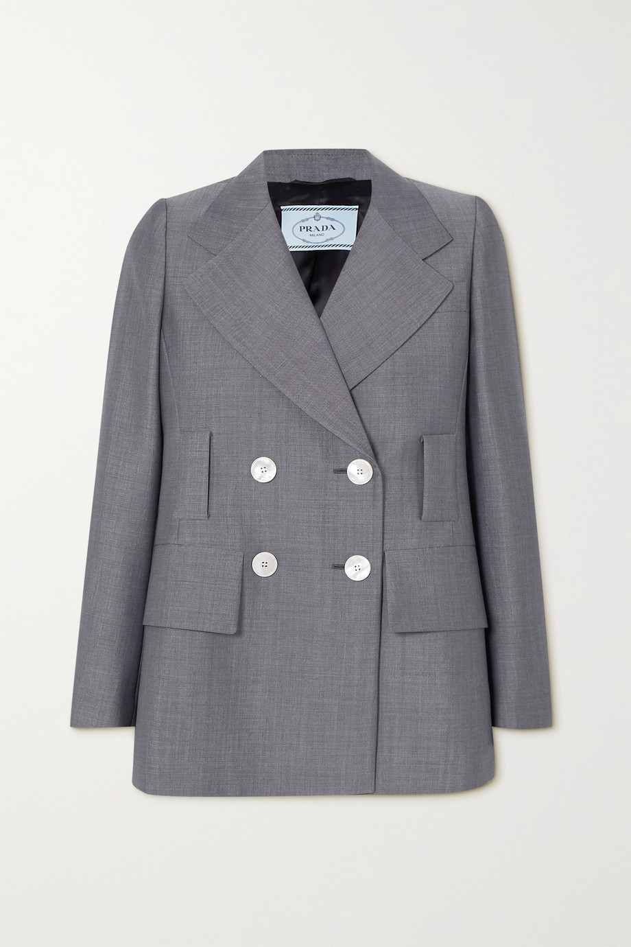 Prada Double-breasted mohair and wool-blend blazer