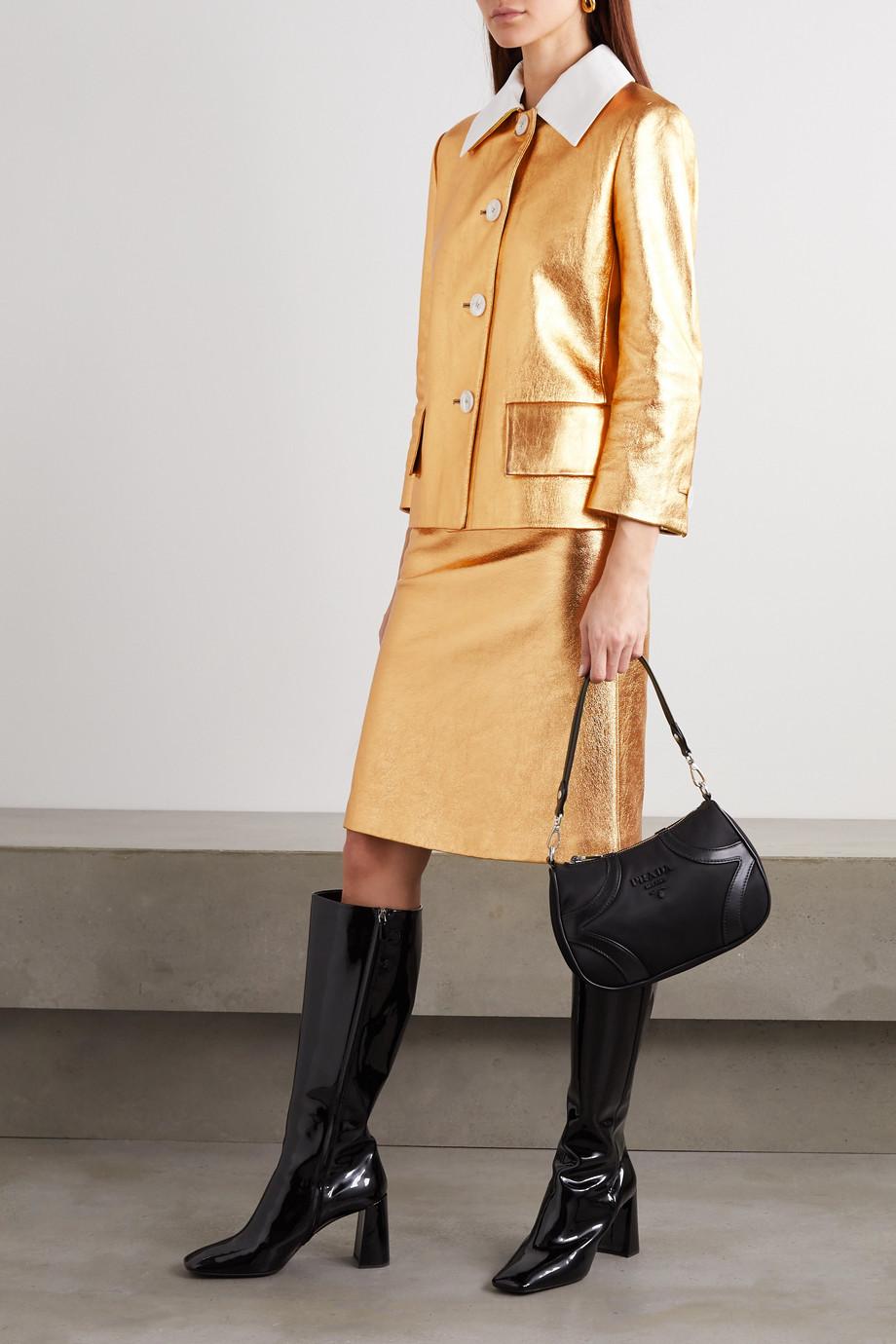 Prada Cotton-trimmed metallic textured-leather jacket
