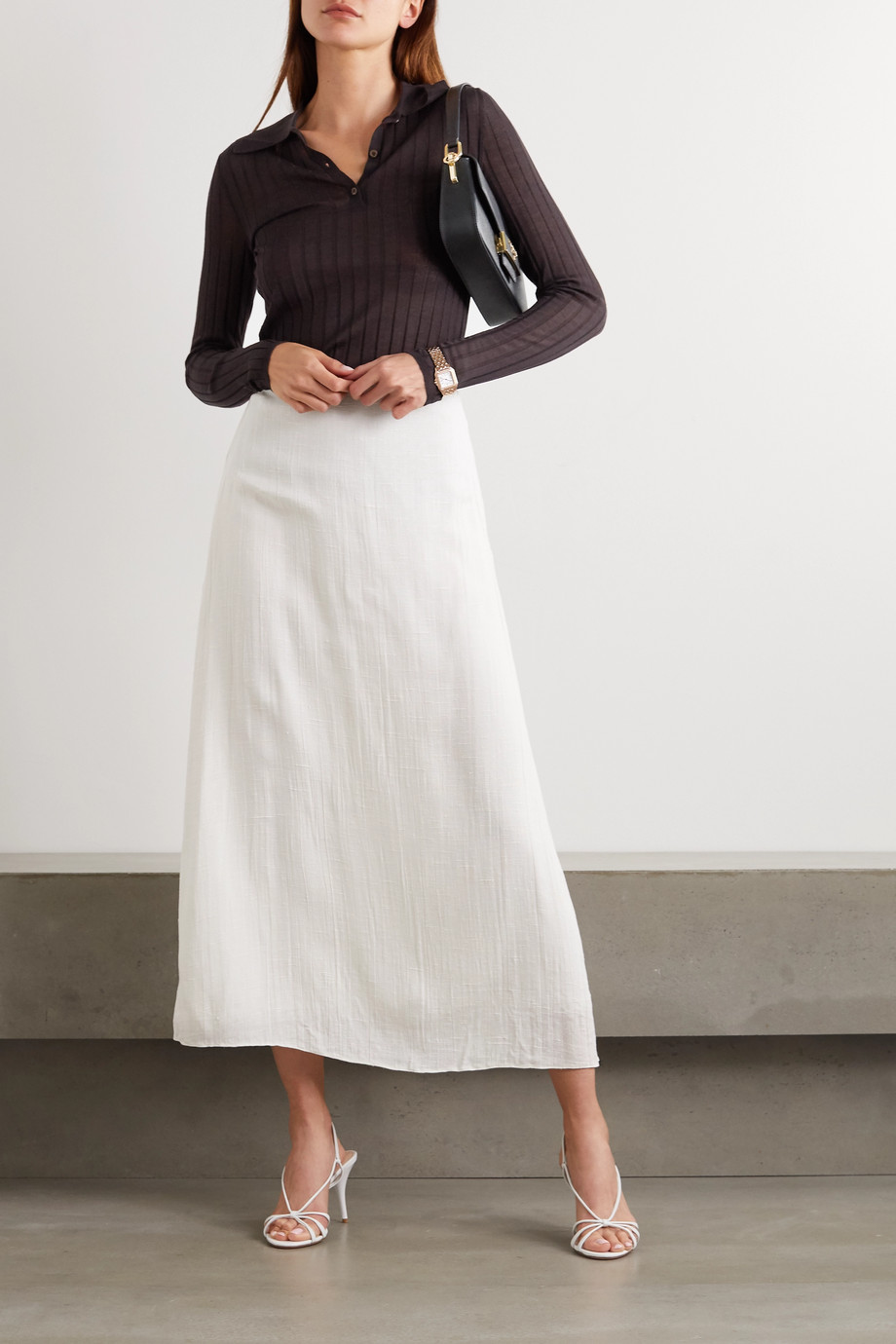 Prada Ribbed cashmere and silk-blend polo shirt
