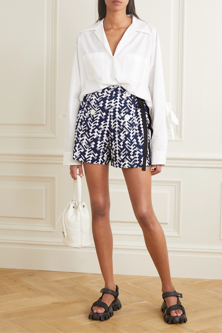 Prada Printed cotton shorts
