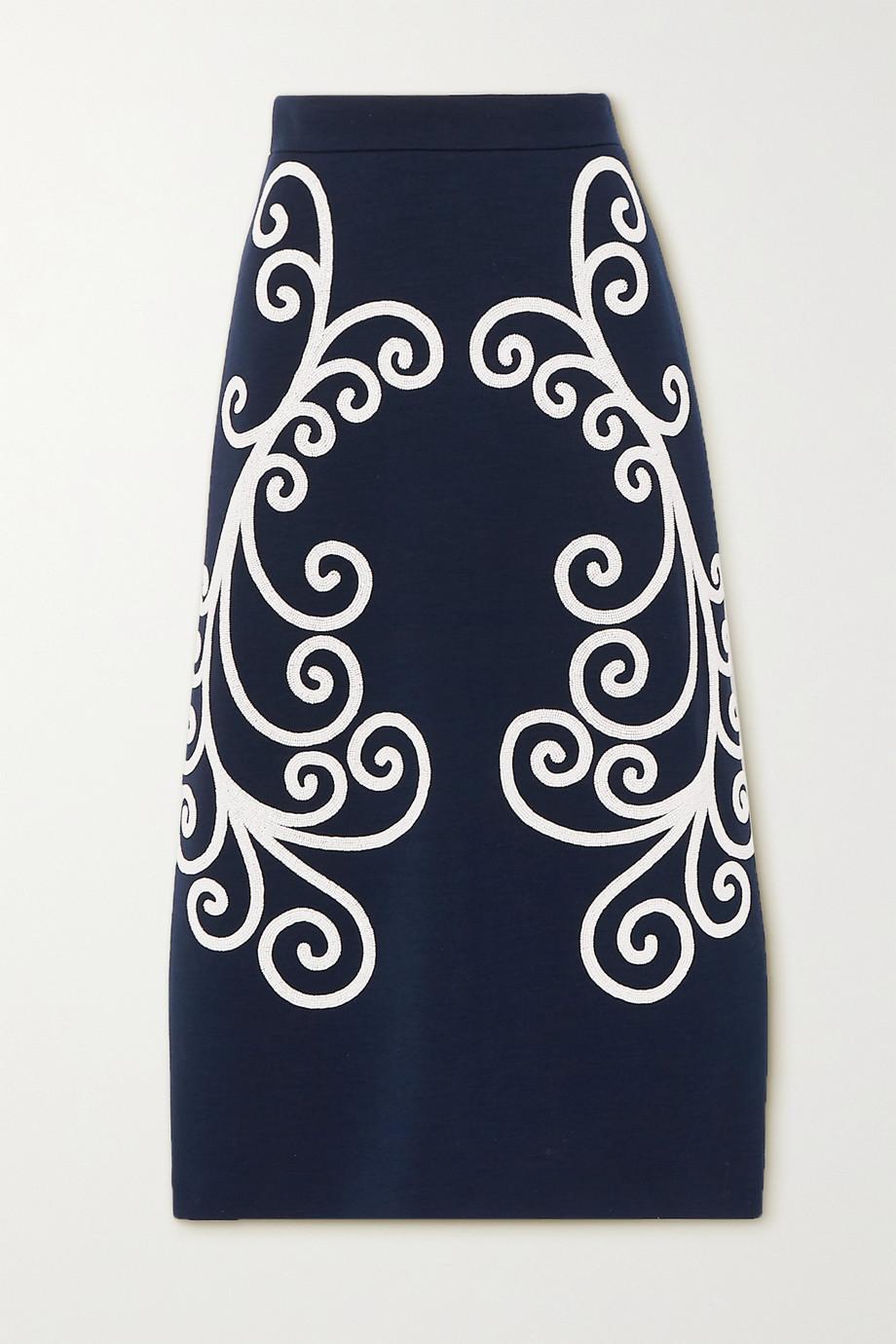 Prada Bead-embellished wool midi skirt