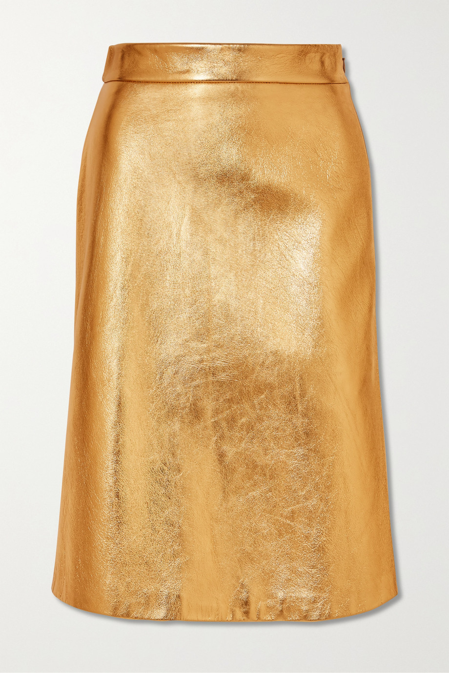 Prada Metallic textured-leather skirt