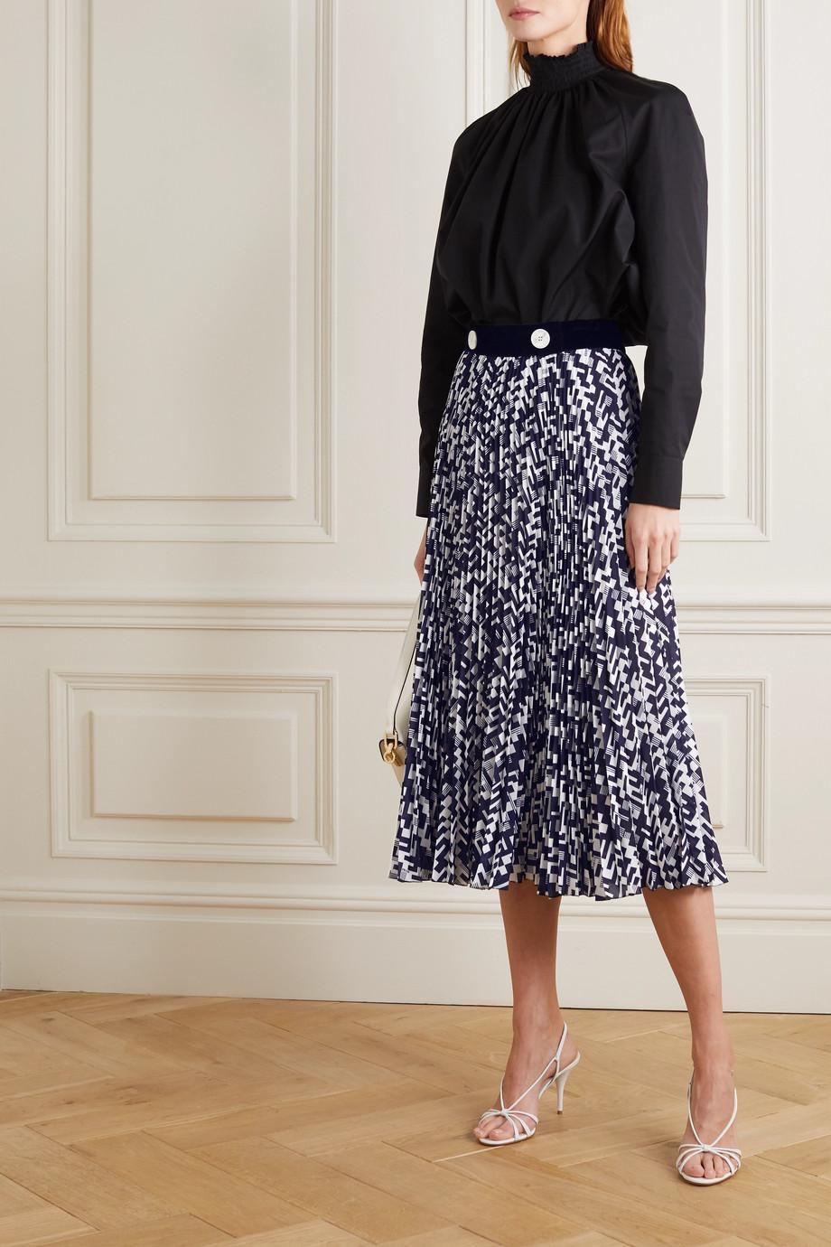 Prada Velvet-trimmed printed plissé-silk midi skirt