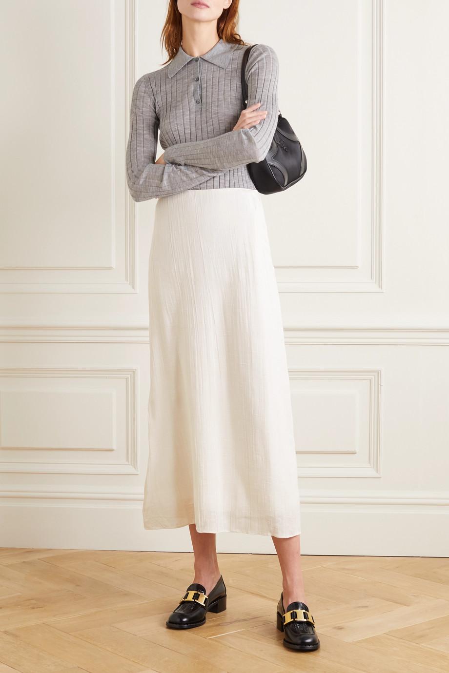 Prada Slub crinkled-silk midi skirt