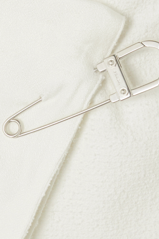 Blanc Mini-jupe Portefeuille En Coton Mélangé À Ornements | Prada