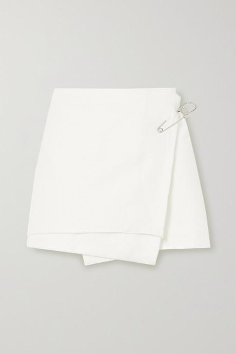 White Embellished cotton-blend mini wrap skirt   Prada GwLmYu