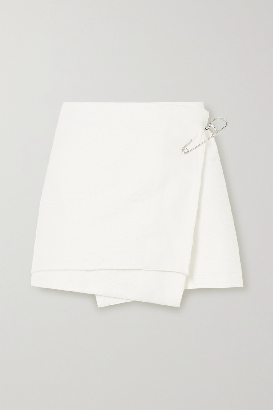 Prada Embellished cotton-blend mini wrap skirt