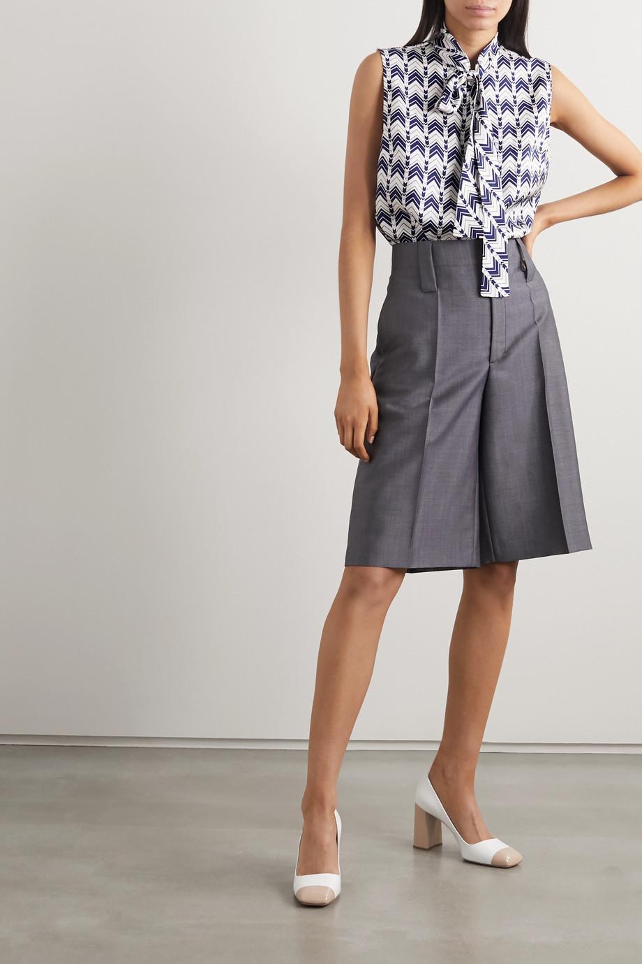 Prada Pussy-bow printed silk-satin blouse