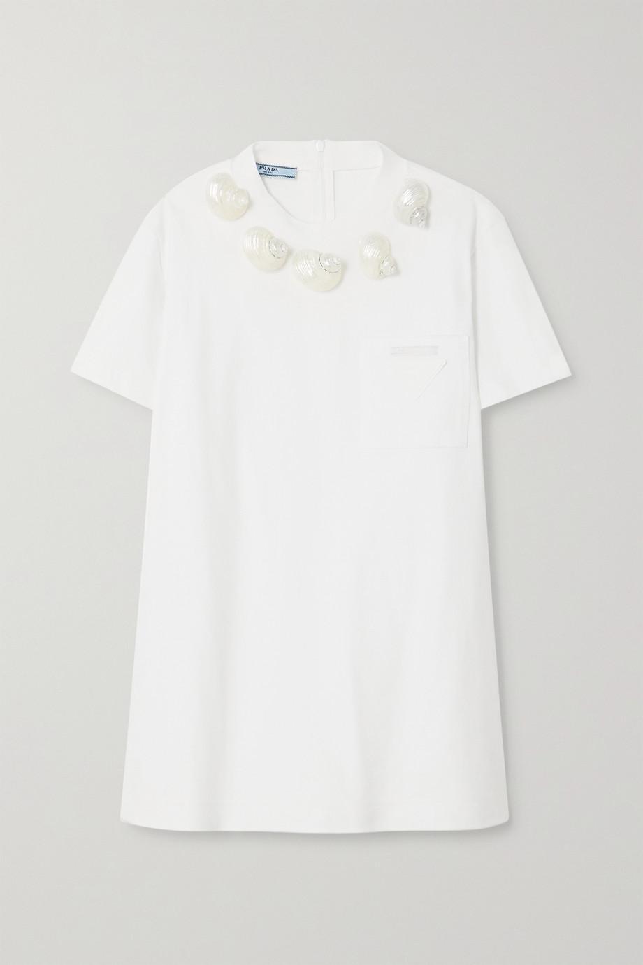 Prada T-shirt en jersey de coton à coquillages et à appliqué
