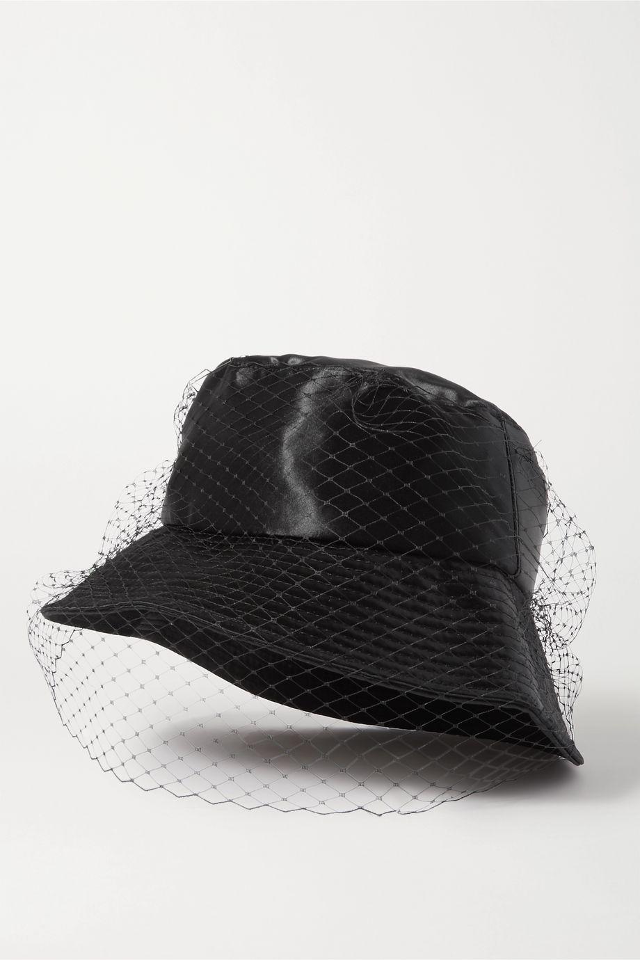Jennifer Behr Elaine satin and mesh bucket hat