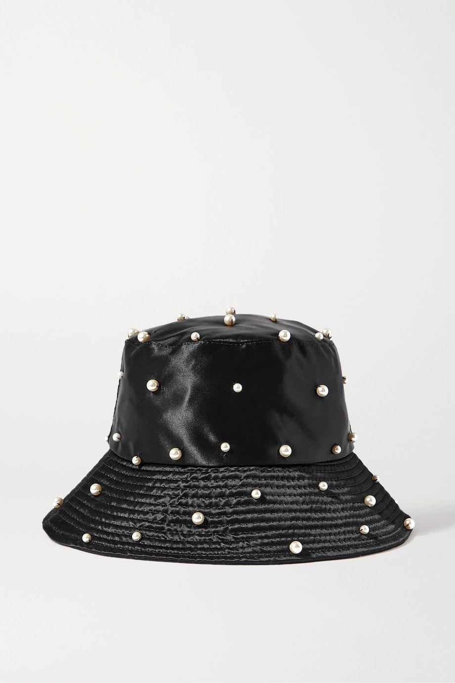 Jennifer Behr Mallorie Swarovski pearl-embellished satin bucket hat