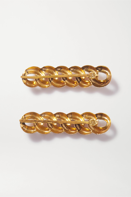 Jennifer Behr Lot de deux barrettes en métal doré Didi