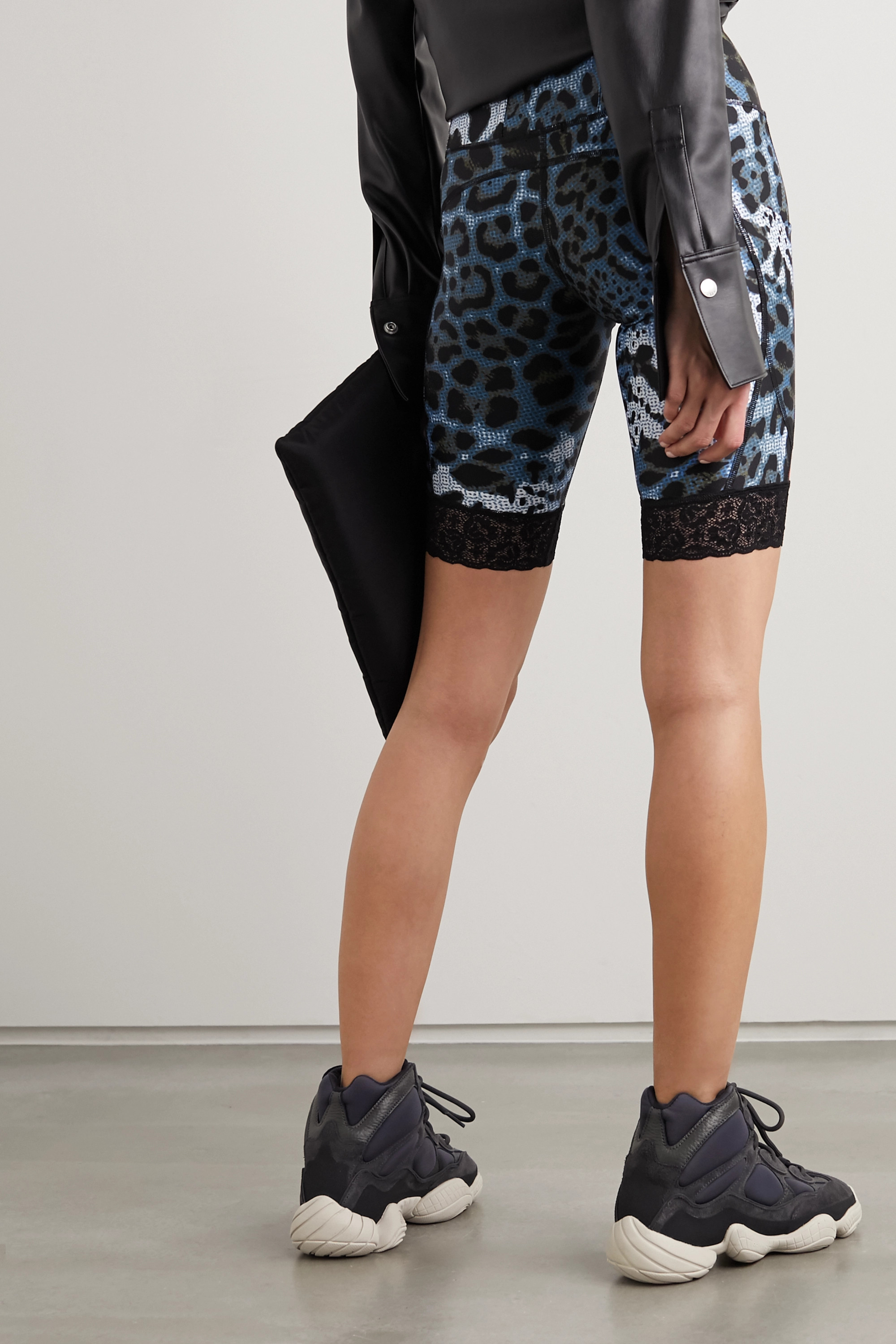 Twin Fantasy Lace-trimmed paneled animal-print stretch shorts