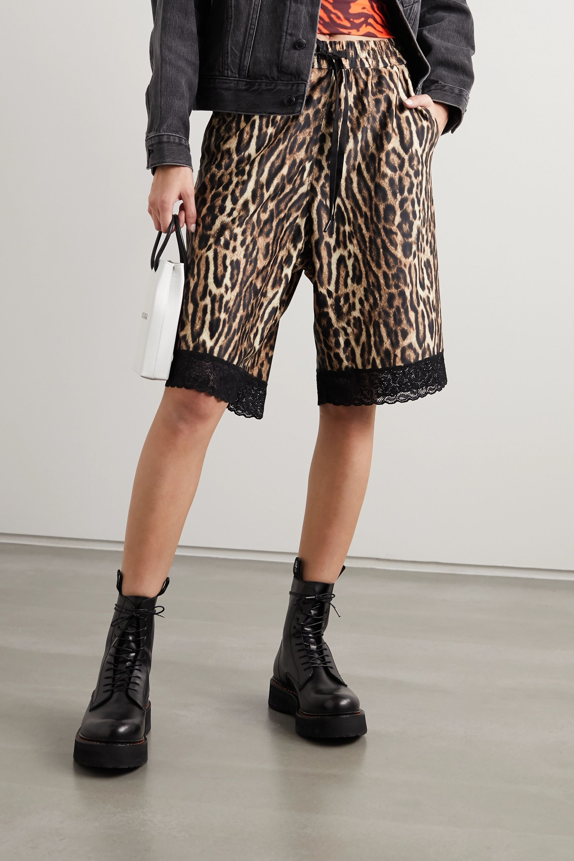 Twin Fantasy Lace-trimmed leopard-print stretch-jersey shorts