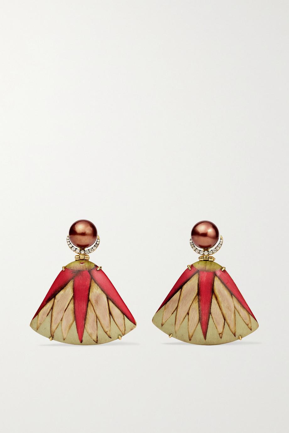 Silvia Furmanovich Marquetry 18-karat gold, wood, pearl and diamond earrings