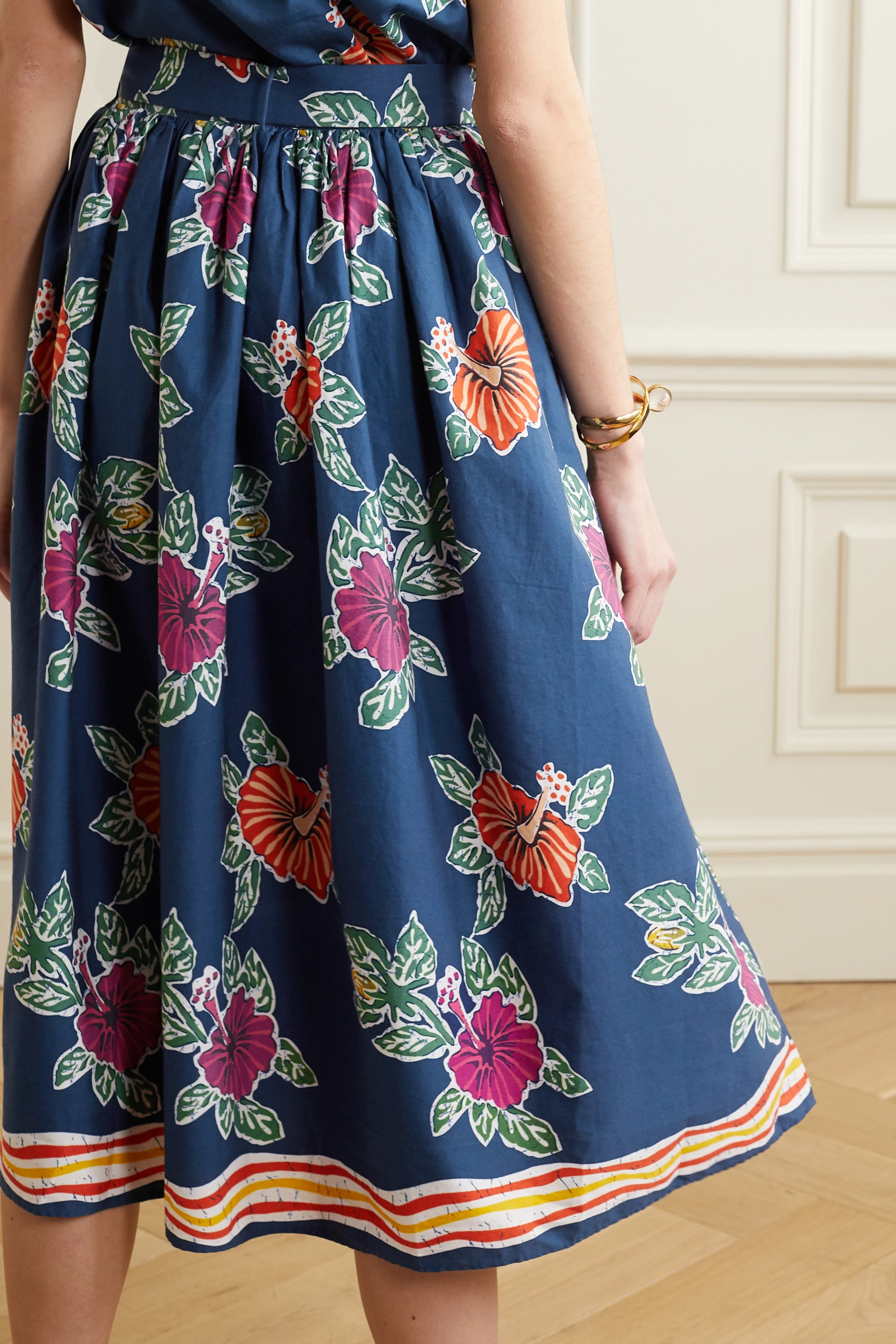 Miguelina Elani belted floral-print cotton midi skirt