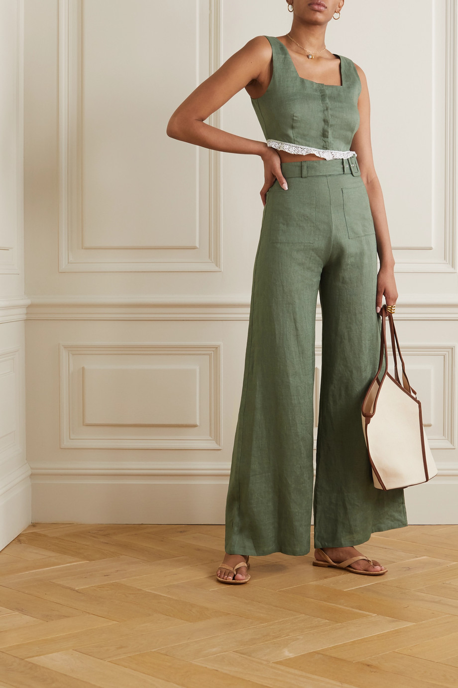Miguelina Rita belted linen wide-leg pants