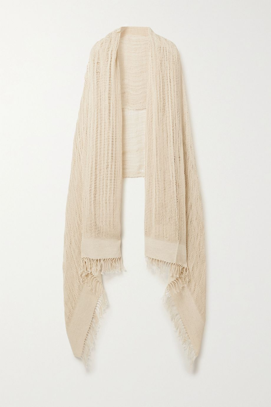 Miguelina Sekai fringed crocheted cotton shawl