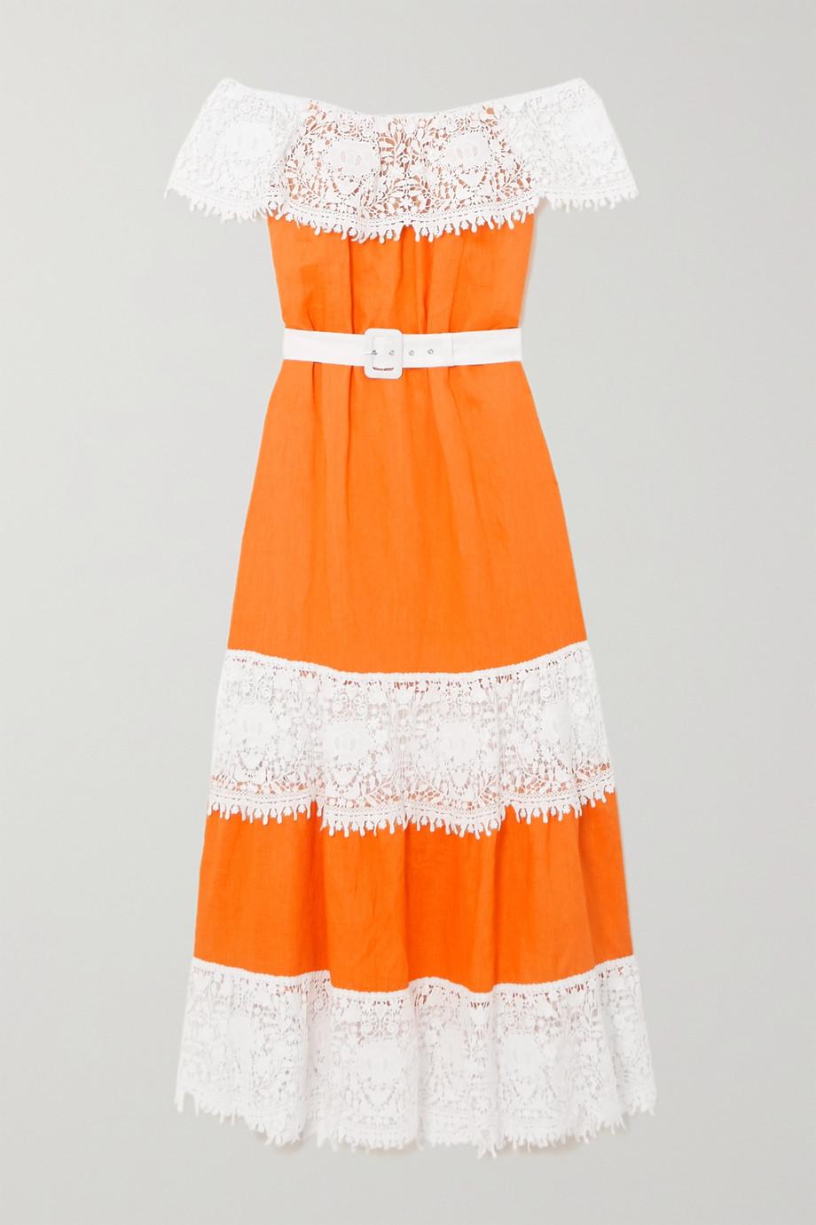 Miguelina Maeve off-the-shoulder belted crochet-trimmed linen maxi dress