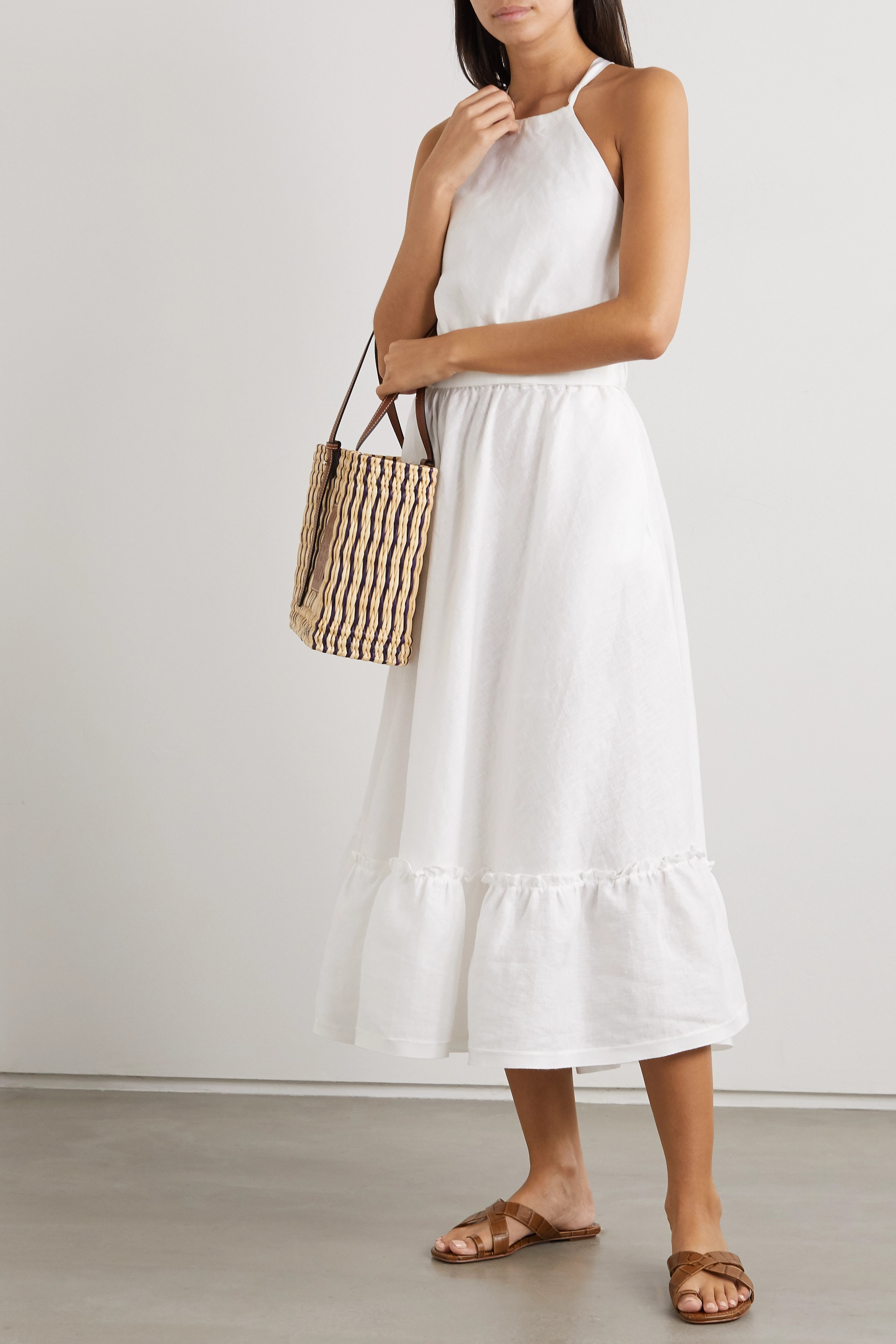 Miguelina Amanda belted open-back linen midi dress