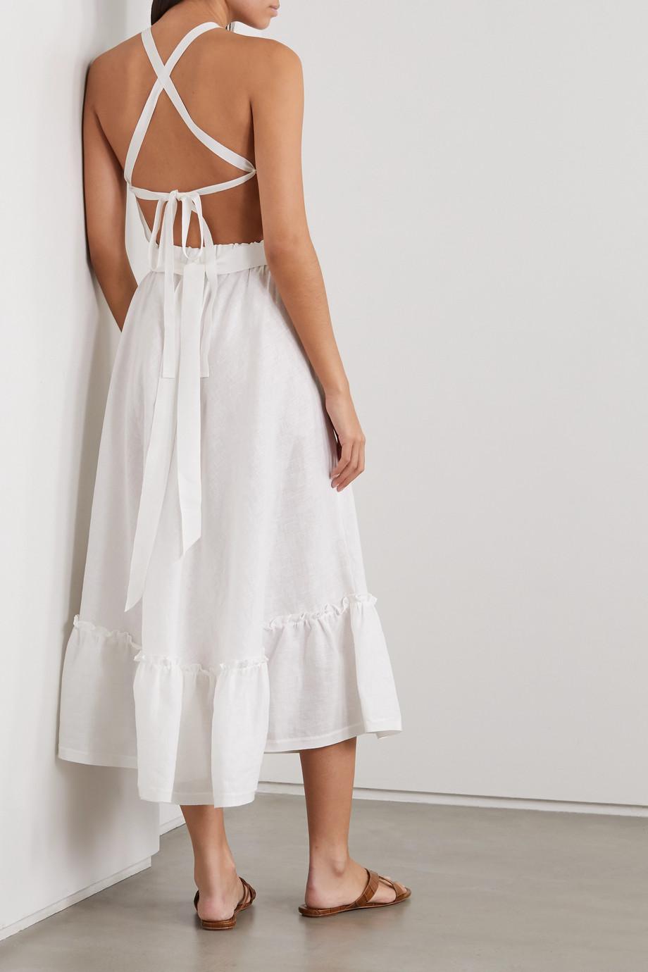 Miguelina Amanda belted open-back linen midi dress
