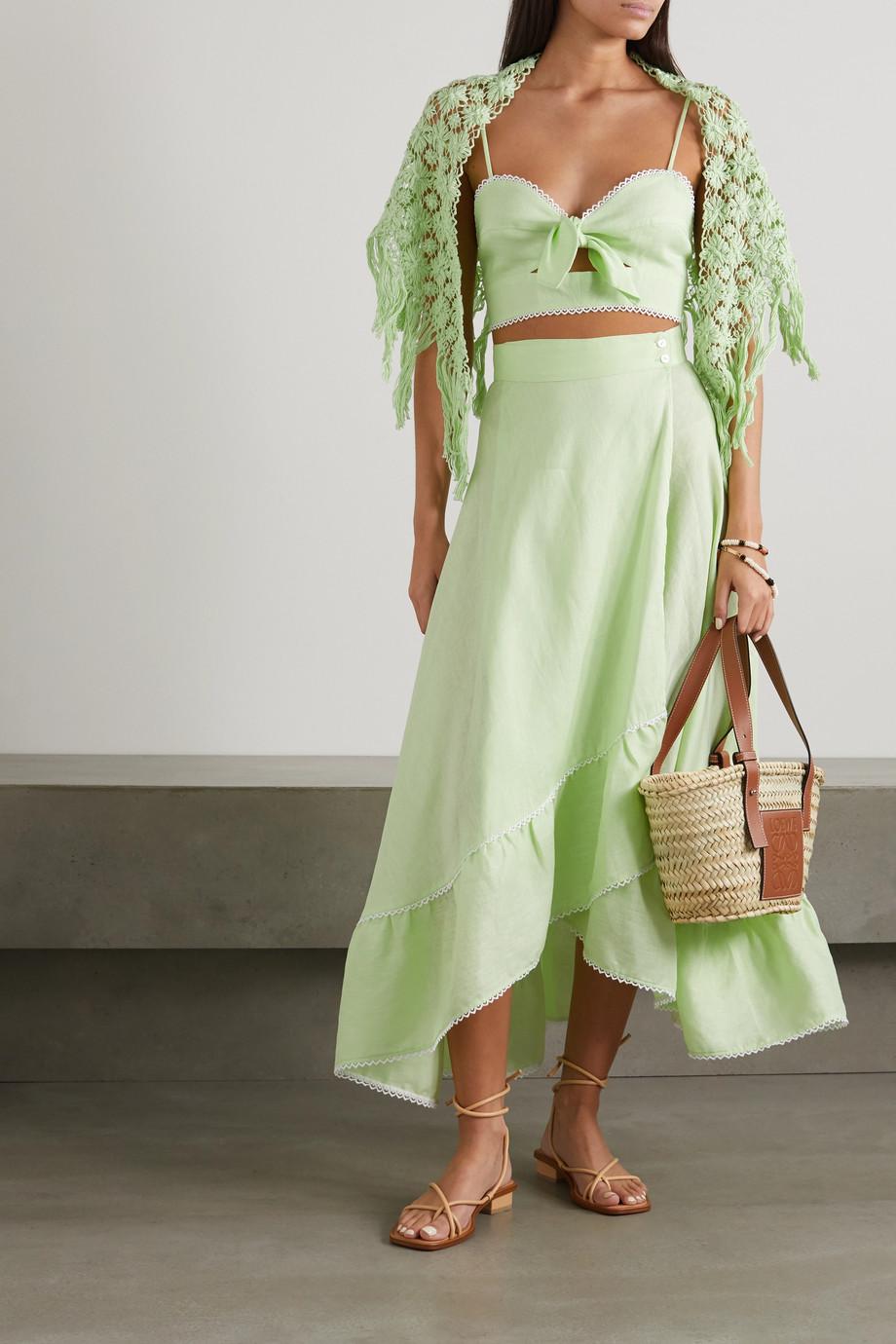 Miguelina Kiana fringed crocheted cotton shawl