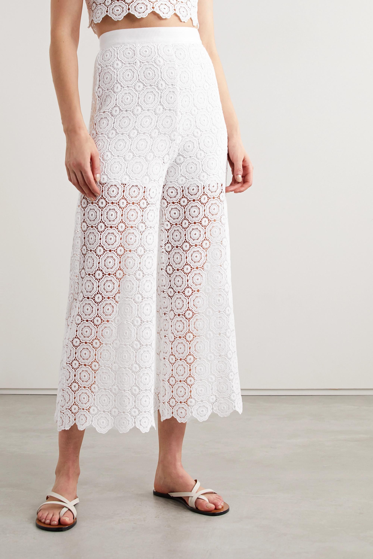 Miguelina Dana cropped crocheted cotton straight-leg pants