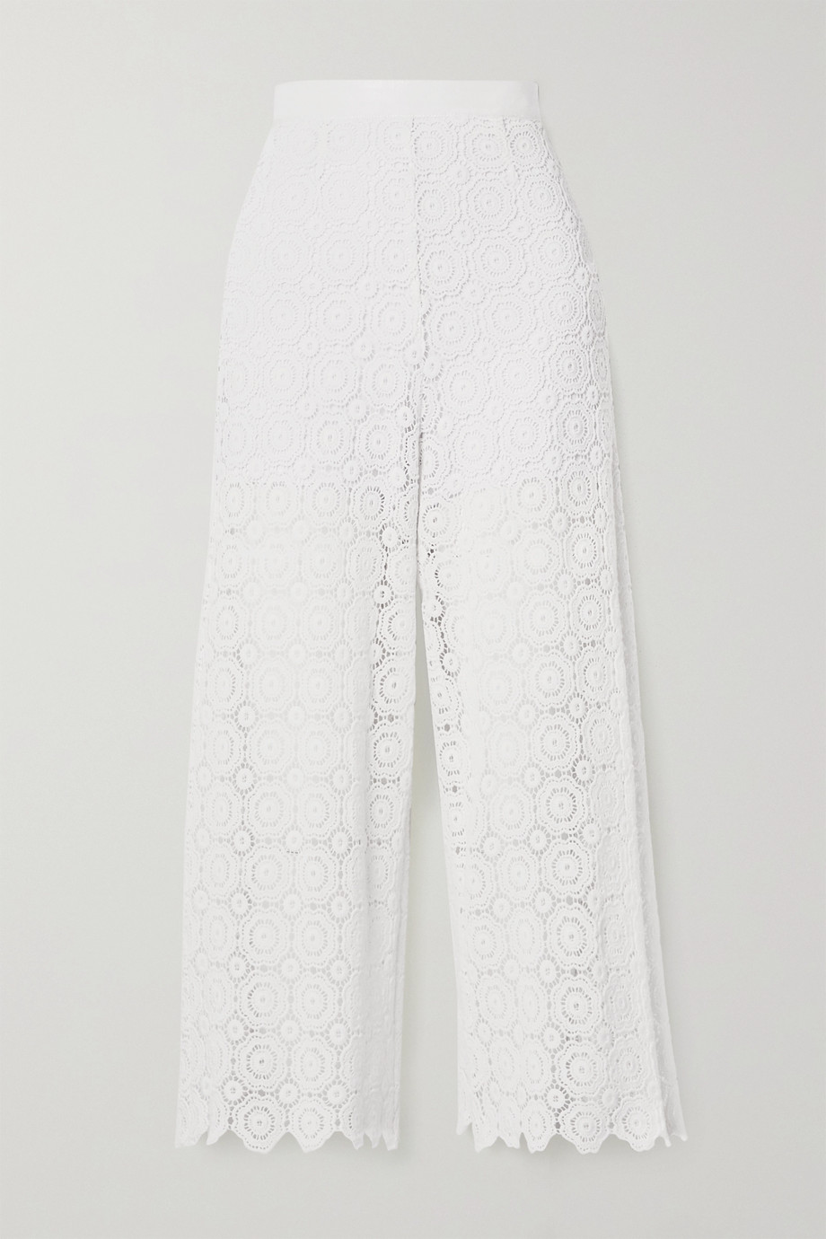Miguelina Dana cropped crocheted cotton straight-leg pants