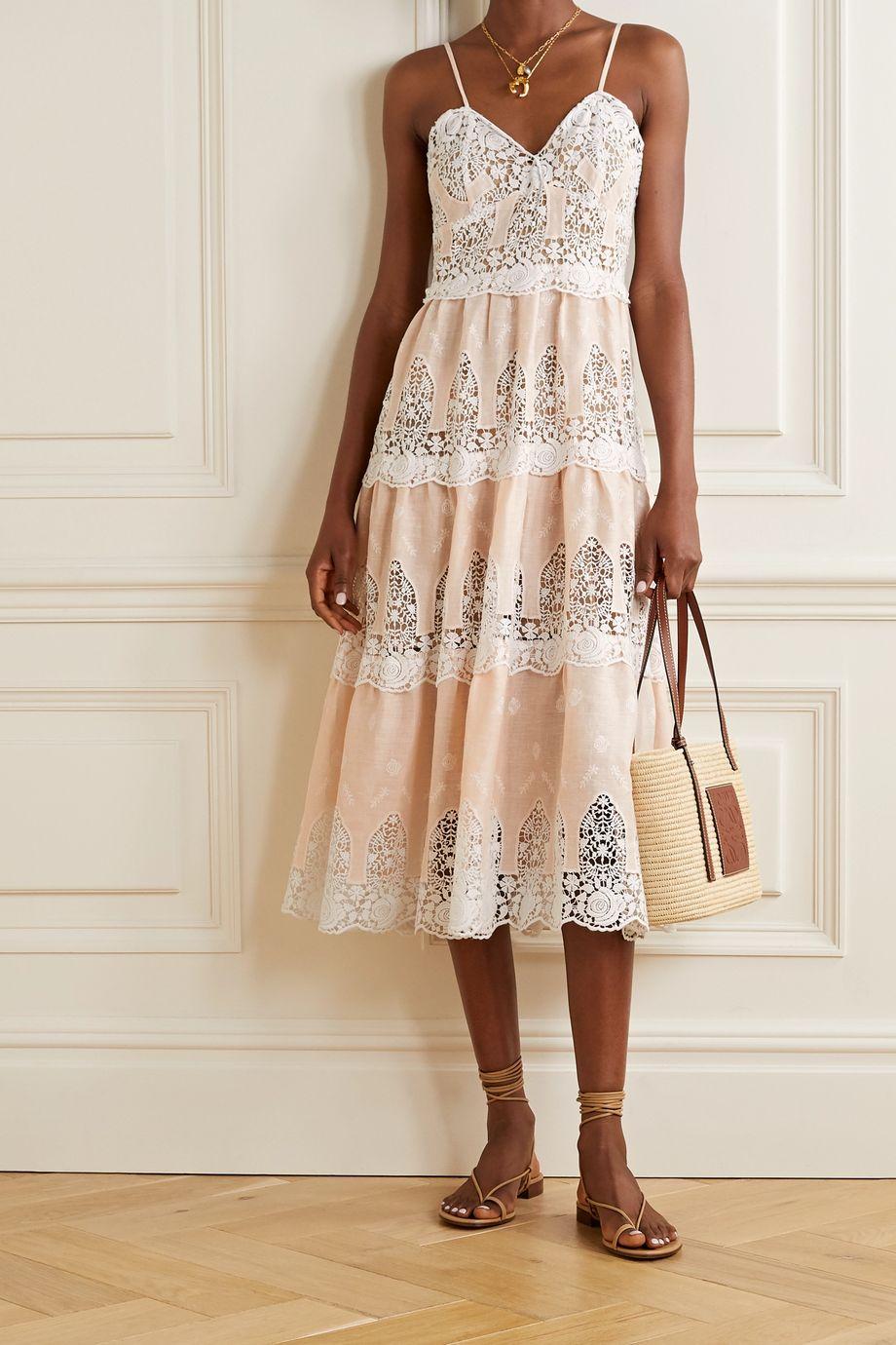 Miguelina Lotte crochet-trimmed linen midi dress