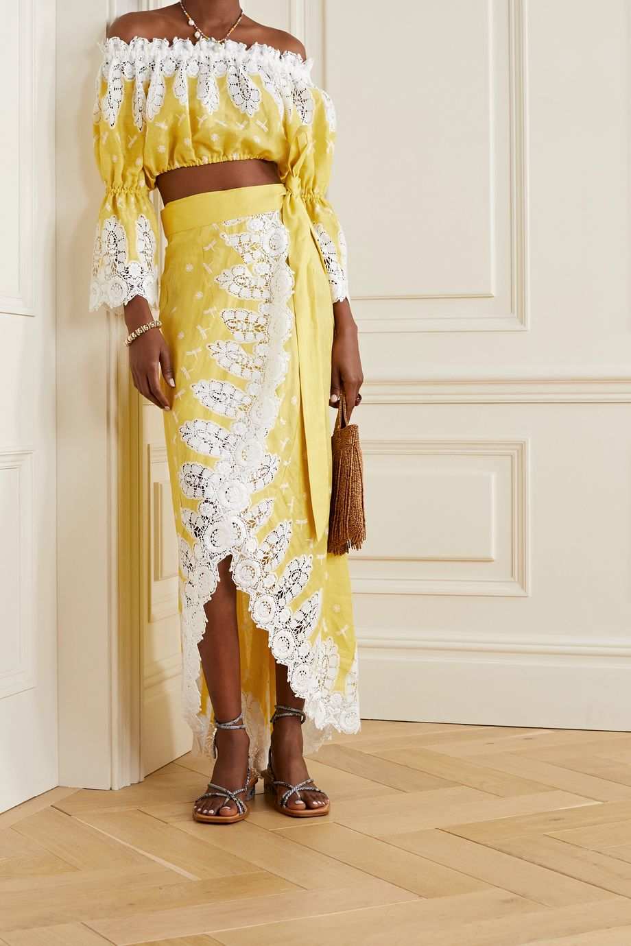 Miguelina Kassidy off-the-shoulder crochet-trimmed embroidered linen top
