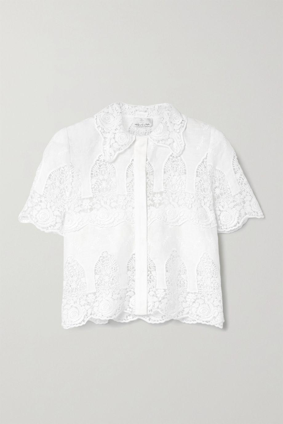 Miguelina Darlene crochet-trimmed embroidered linen shirt