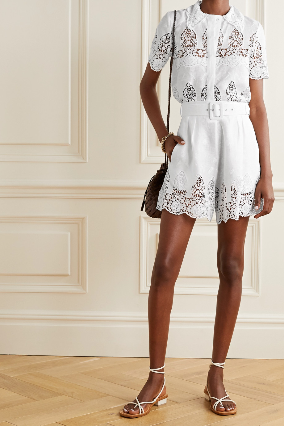 Miguelina Liana belted crochet-trimmed embroidered linen shorts