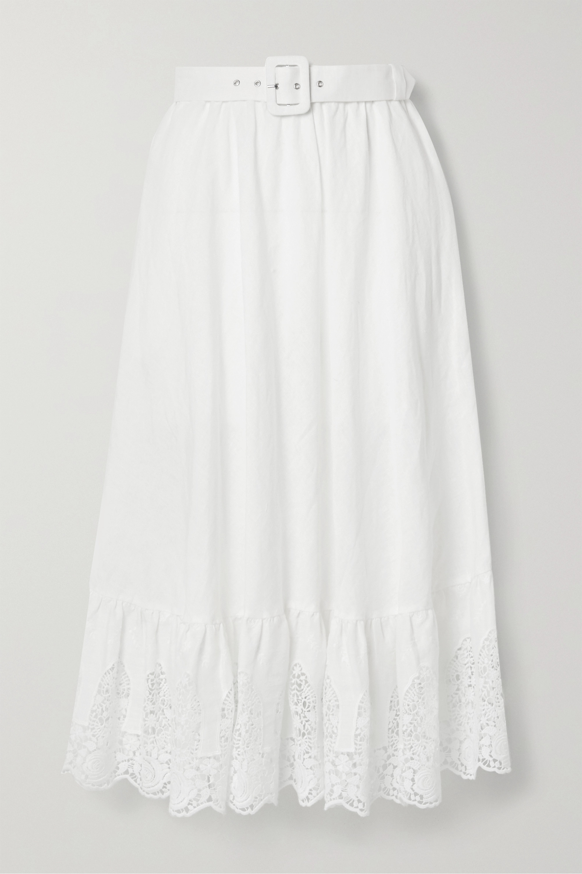 Miguelina Debbie belted crochet-trimmed embroidered linen midi skirt