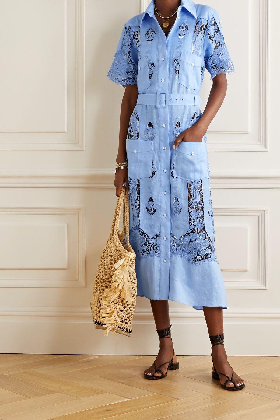 Miguelina Berly crochet-trimmed linen midi shirt dress