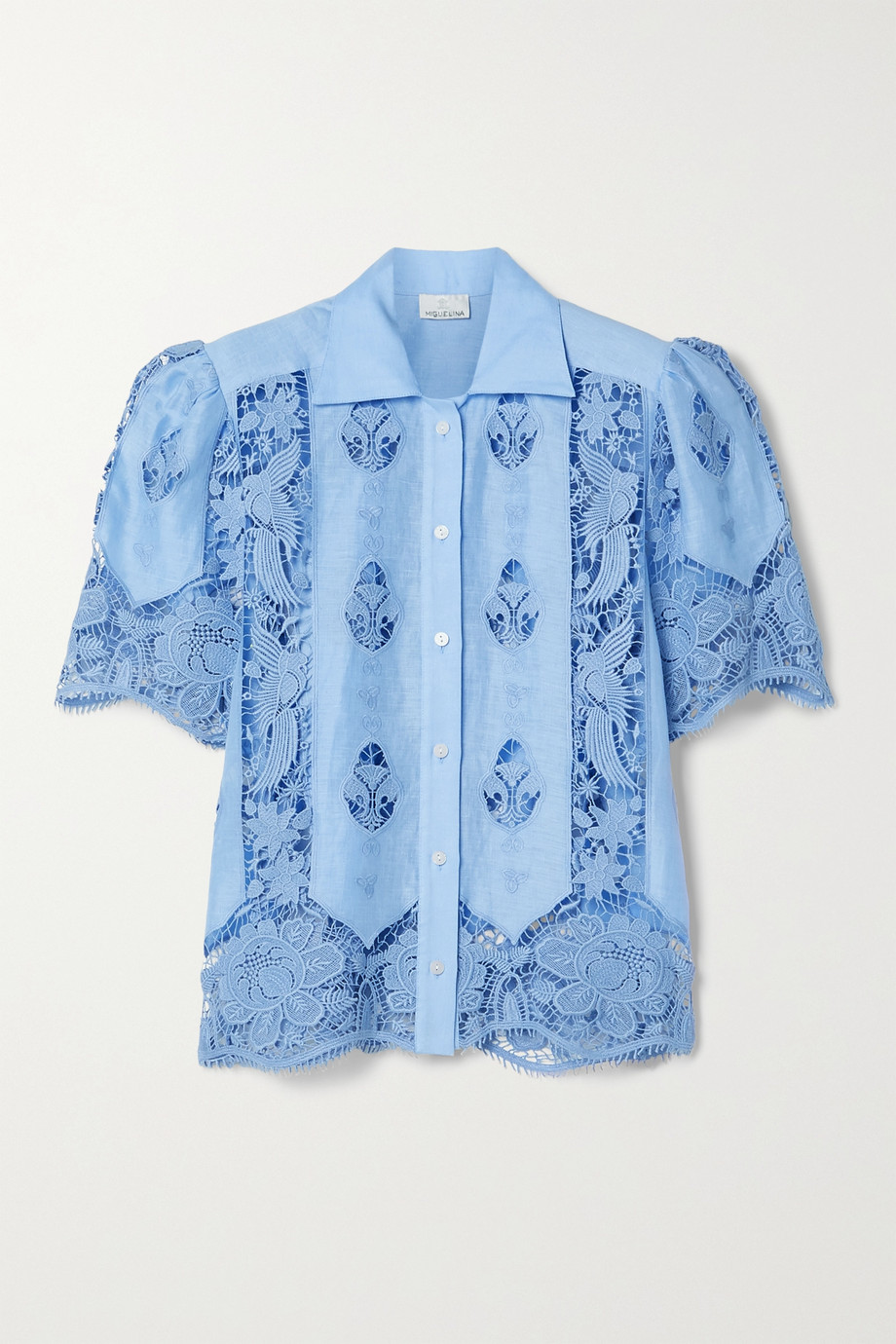 Miguelina Constance crochet-trimmed linen shirt
