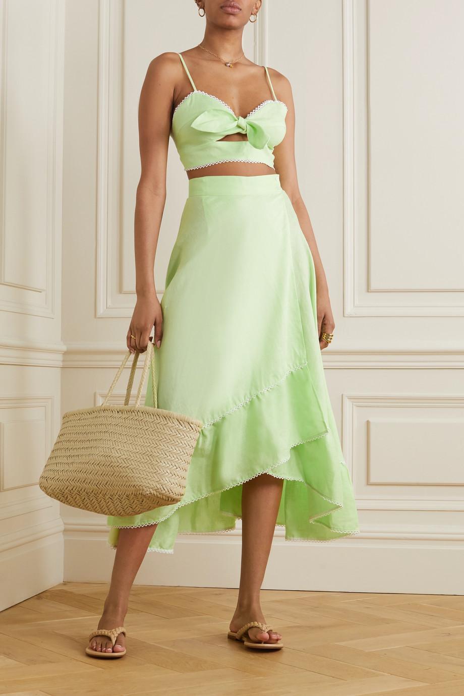 Miguelina Marika tiered crochet-trimmed linen midi skirt
