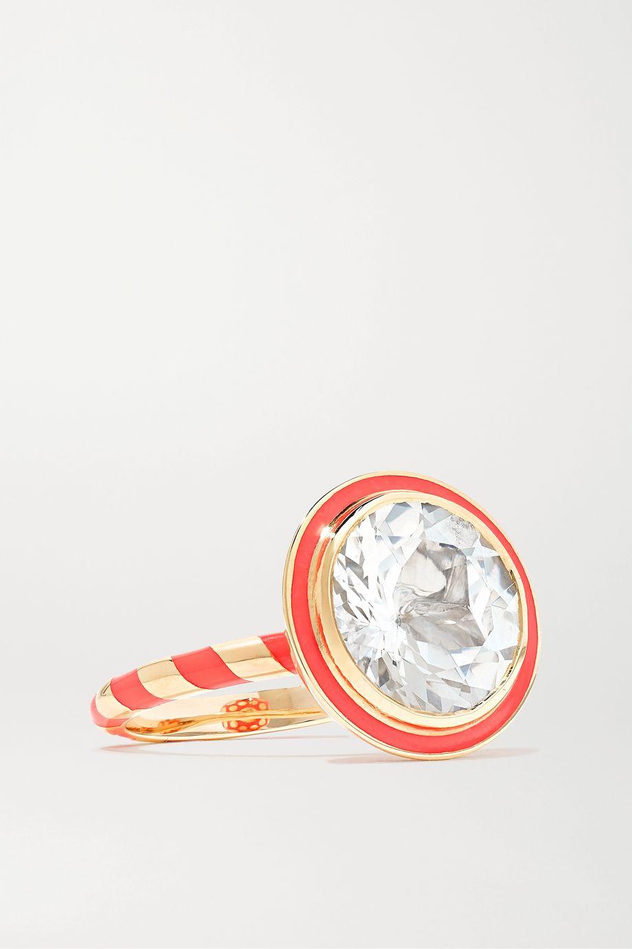 Alice Cicolini Memphis Totem 14-karat gold, enamel and topaz ring