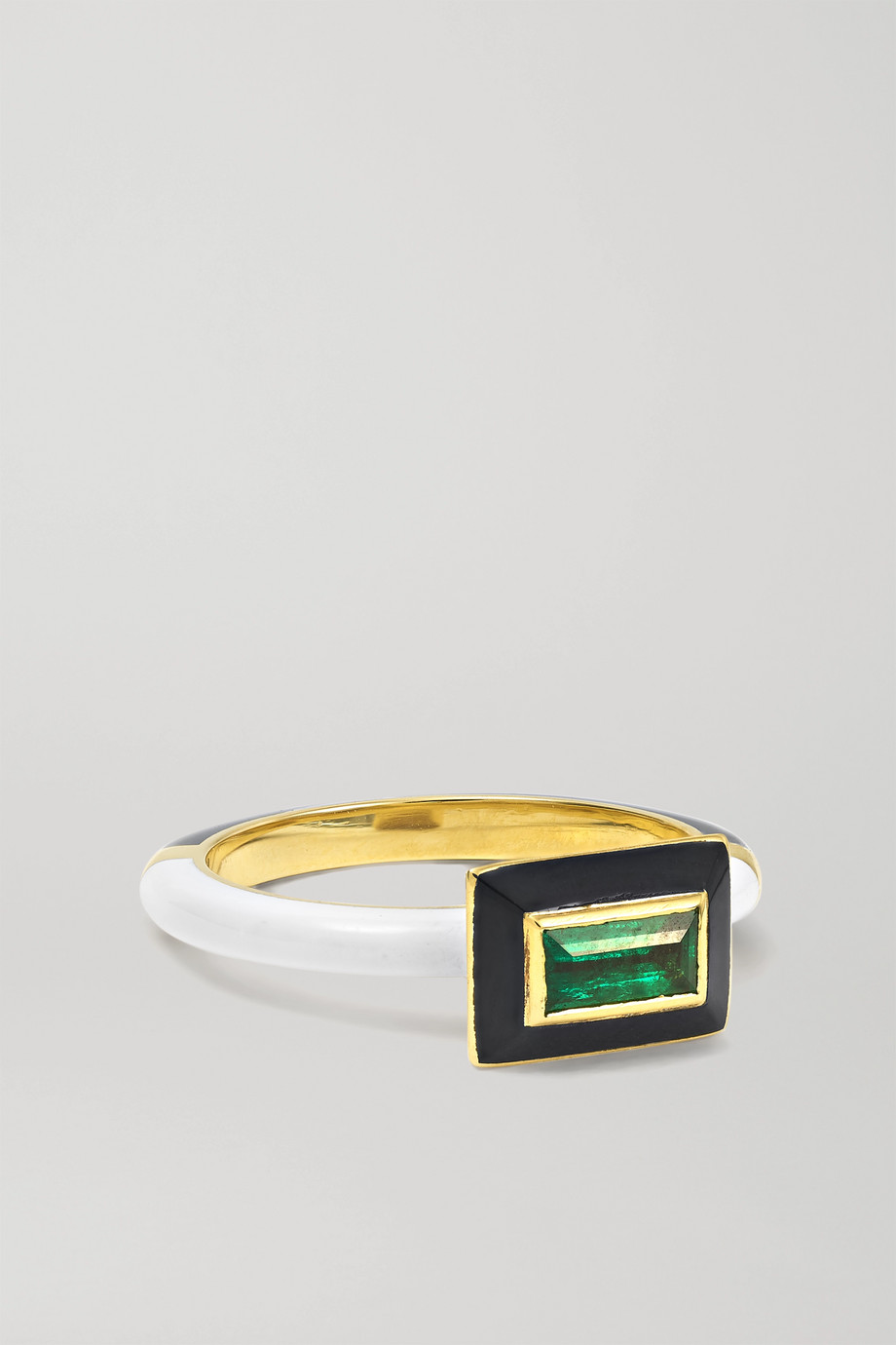 Alice Cicolini Memphis Candy 14-karat gold, enamel and emerald ring
