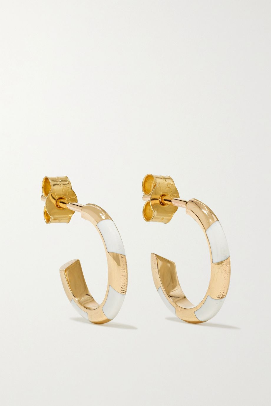 Alice Cicolini Memphis Candy 14-karat gold and enamel hoop earrings