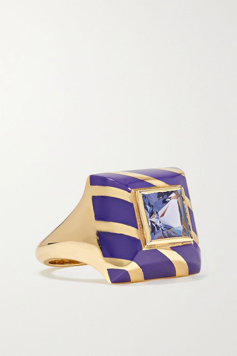 Alice Cicolini Candy Lacquer 14-karat gold, tanzanite and enamel ring