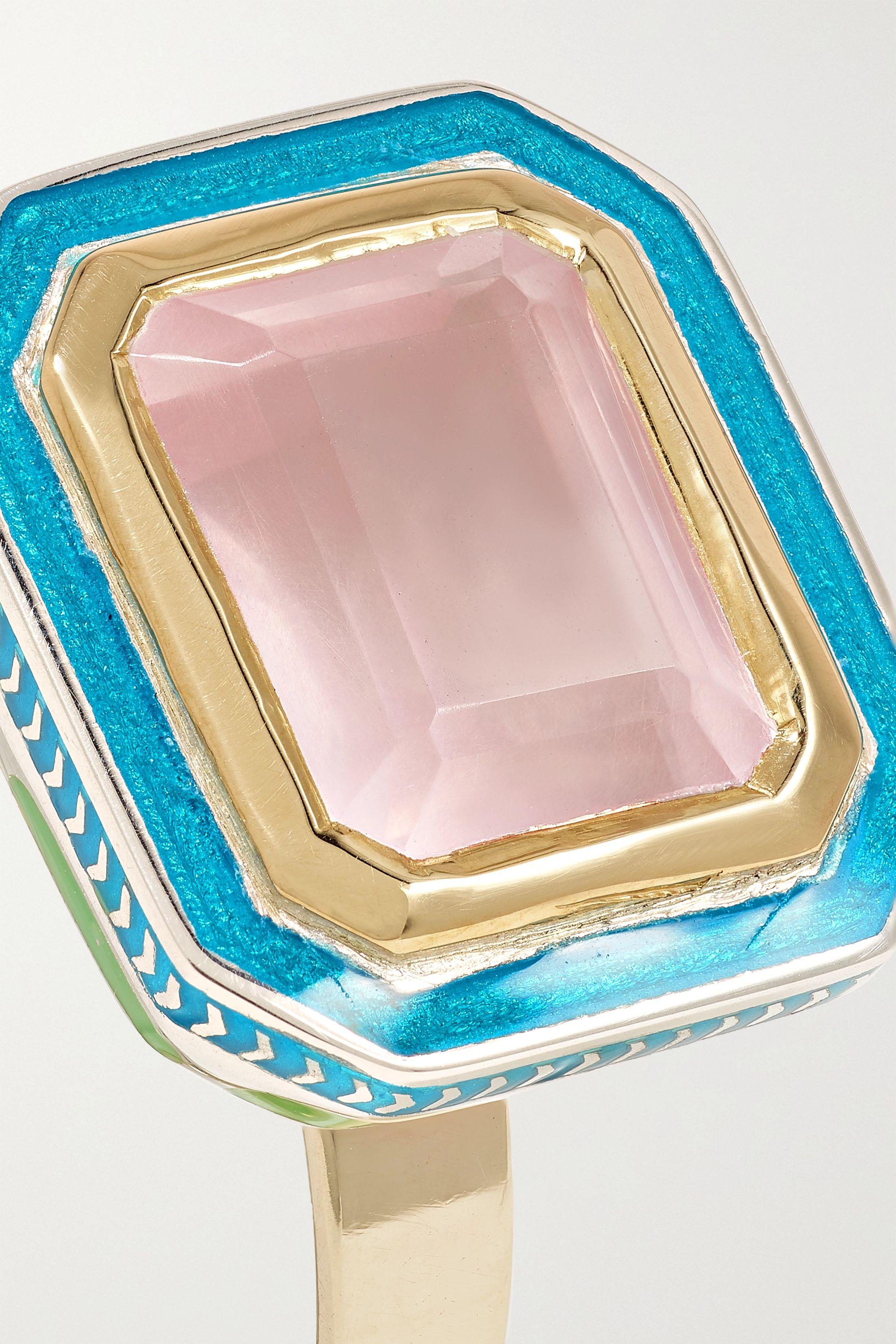 Alice Cicolini 14-karat gold, sterling silver, quartz and enamel ring