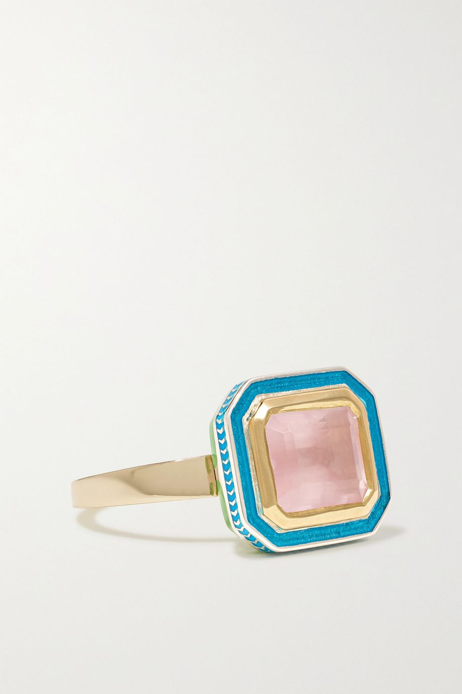 Alice Cicolini 14-karat gold, sterling silver, quartz and enamel ring