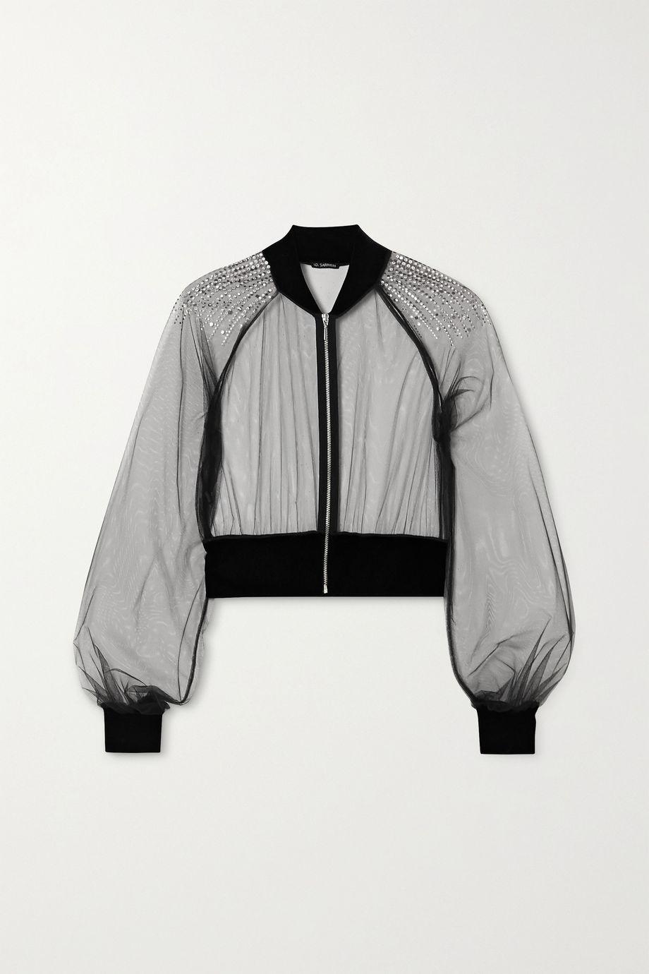 I.D. Sarrieri Cropped velvet-trimmed Swarovski Crystal-embellished tulle bomber jacket