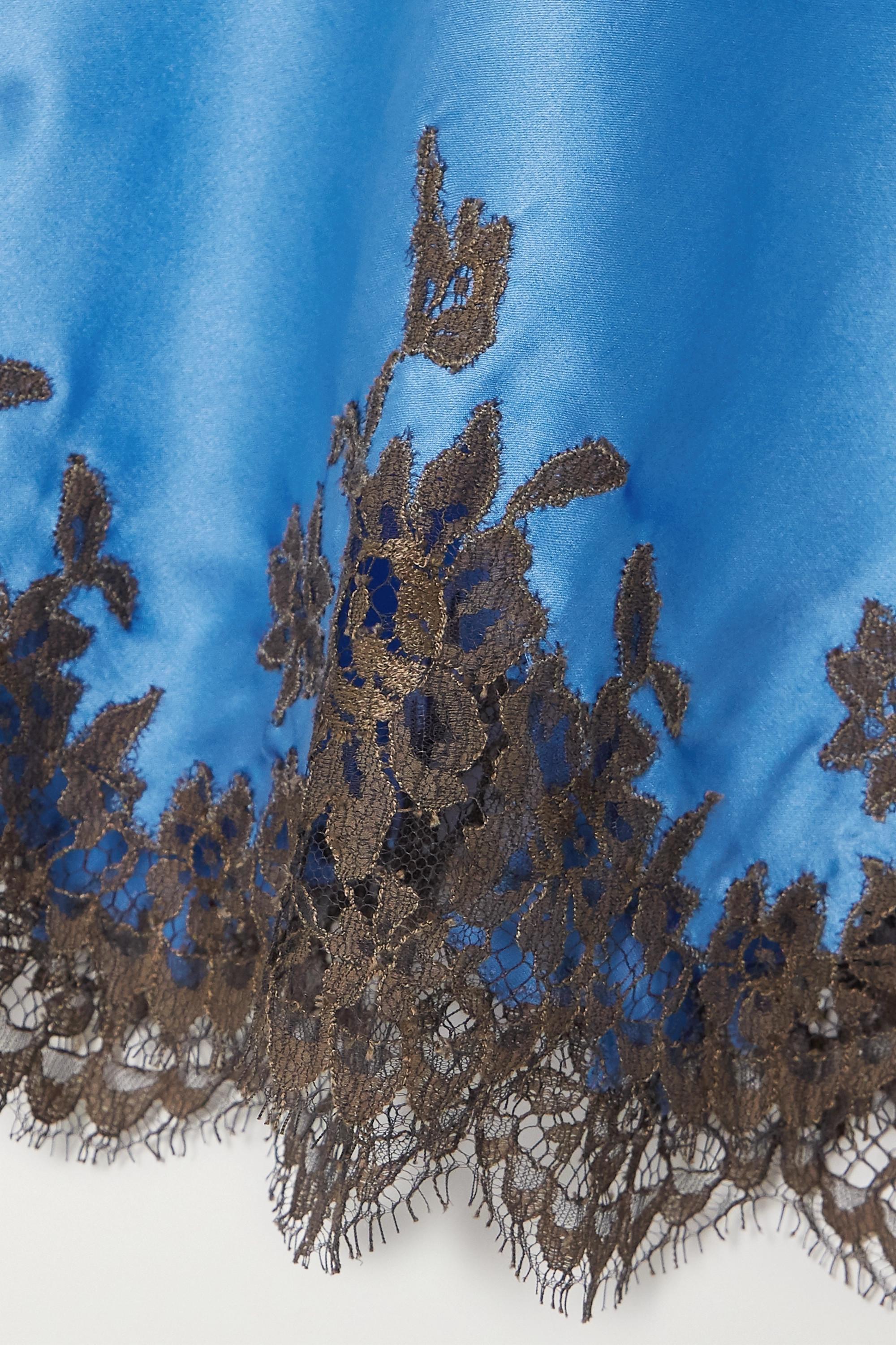 I.D. Sarrieri Nachthemd aus Satin aus einer Seidenmischung mit Chantilly-Spitzenbesätzen